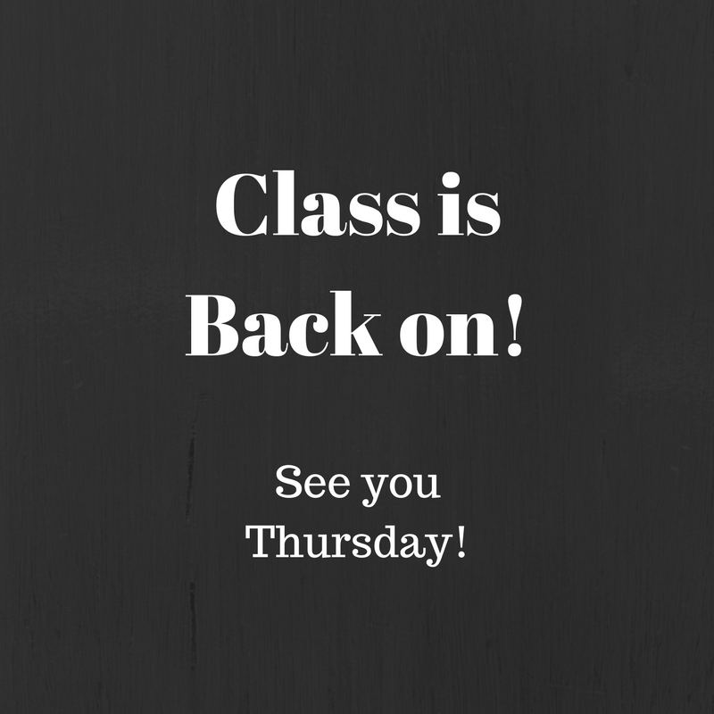 Class is back on announcement